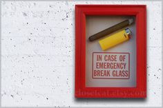 Cigar and Lighter  In Case of Emergency  Cigar box by ClosetCat, $25.00