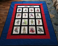 Made for my granson from the coloring pages on this board. Avengers Coloring Pages, Marvel Heroes, Quilts, Blanket, Board, Quilt Sets, Blankets, Log Cabin Quilts, Cover