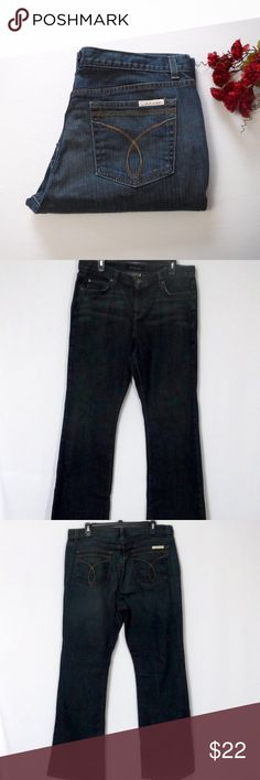 """Calvin Klein Flare Leg Jean Size 16 5 Pockets Button With Zipper Closure  99% Cotton 1% Spandex  In Good Pre-Owned Condition and Shows Normal Signs Of Wear With No Stains or Holes. Some wear on Back Seam   All Measurements Posted Below are Aprox. & Taken While Laying Flat  Waist:18.75""""(37.5) Rise:11"""" Inseam:32""""  Please Ask Any Questions You may Have Before Purchasing.  Smoke & Pet Free Home  Please Check Out My Other Items  Inv#397 Calvin Klein Jeans Flare & Wide Leg"""