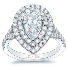Diamond Double Halo Engagement Ring with Petite Split Shank
