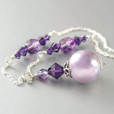 Lavender Pearl Necklace Sterling Silver Swarovski Amethyst Crystal Necklace Plum Grape Violet Mauve Lilac Necklace