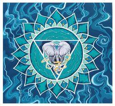 Elephant Illustration, Blue Lotus, Throat Chakra, Mandala, Elephant Drawings, Coloring Pages Mandala, Mandalas