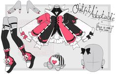 Dress Design Sketches, Fashion Design Drawings, Drawing Sketches, Dark Costumes, Chibi Girl Drawings, Pokemon Breeds, Anime Angel Girl, Manga Clothes, Sketch Poses