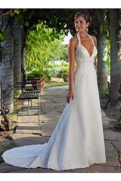 Body Fitted Sheath  Chiffon V-Neckline halter  Wedding Dress .... OMG I LOVE this!!!!