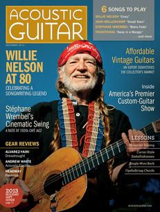 Acoustic Guitar magazine, issue no. 252, featuring the legendary Willie Nelson on the cover.