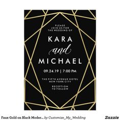 Faux Gold on Black Modern Geometric Wedding