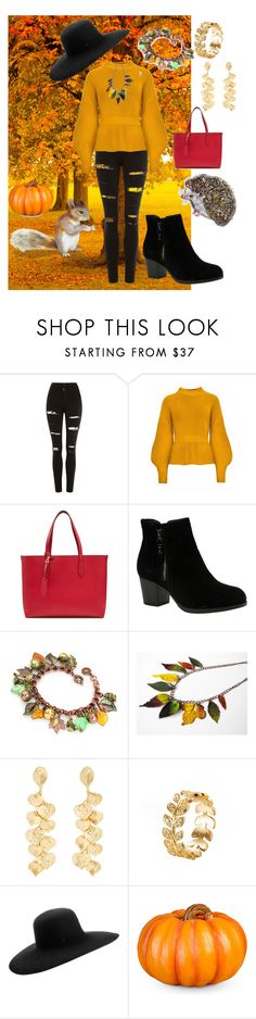 """""""fall colors"""" by cecilvenekamp ❤ liked on Polyvore featuring Topshop, Burberry, Skechers, Kenneth Jay Lane, Maison Michel, Improvements, DOMESTIC and disfan"""