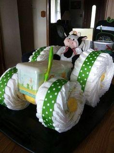 Diaper cake - Tarta de pañales - Baby shower gifts and crafts Baby Cakes, Baby Shower Cakes, Baby Shower Diapers, Baby Shower Fun, Baby Shower Favors, Baby Showers, Tractor Baby Shower, Diaper Shower, Cute Baby Shower Gifts