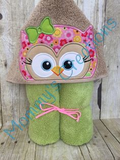 "Girl Owl Applique Hooded Bath, Beach Towel, Swim Cover Up 30"" x 54"" by MommysCraftCreations on Etsy"