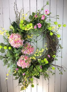 Delux sping wreath, Large spring wreath, Front door wreath, Hydrangea Wreath, Pink Hydrangea Wreath, Hydrangea Wreath Spring, Summer Wreath by Keleas on Etsy https://www.etsy.com/listing/274809630/delux-sping-wreath-large-spring-wreath