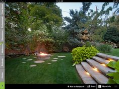 Split level backyard and fire pit.