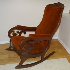 Antique Victorian Mahogany Upholstered Rocking Chair