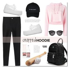 """""""Cute Trend: Cropped Hoodies"""" by mada-malureanu ❤ liked on Polyvore featuring Steve J & Yoni P, Evian and Yves Saint Laurent"""