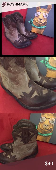Reba cowgirl boots 7m Reba cowgirl boots 7M worn maybe twice. Not broken in. Distressed look (bought that way). Cute. I love them but don't wear them. I'm more of a Moto boot girl. Reba Shoes Ankle Boots & Booties