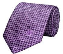 Versace Men's Medusa Logo Diamond Pattern Silk Neck Tie Purple.