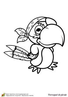 dessin colorier dun perroquet avec un bandeau pirate