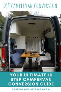 Ready for a Campervan Conversion? Changing a Van into a Campervan but don't know how to start? Check out my Renault Trafic Campervan Conversion in 12 steps. this ultimate guide to your DIY campervan conversion includes choosing a van, stripping and insulating your campervan, creating internal fixtures and fittings | Vanlife interior inspiration | Vanlife solar panal and electricity tips | Campervan conversion bed, table and couch | #travel #vanlife #campervan