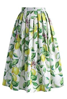 Lemon Tree Printed Midi Skirt - New Arrivals - Retro, Indie and Unique Fashion
