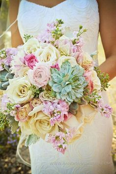 "Lovely Bridal Bouquet With Mint Green Succulents, Pink Delphinium, Cream ""Vintage"" Sahara Roses, Light Pink Ranunculus, Dark Pink Ranunculus, White Lisianthus, Cream Dahlias, & Foliage>>>>>>>>>>>>>>>>>"