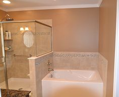Glass And Tile Side By Side In The Master Bathroom Love These Ideas Amazing