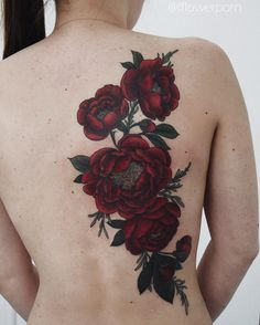 Red colored rose tattoo - 100+ Meaningful Rose Tattoo Designs  <3 <3