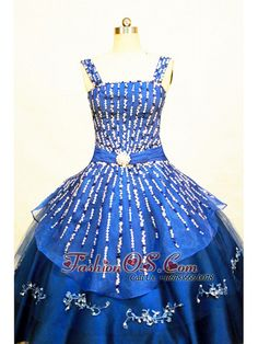 Blue Straps Neckline Flower Girl Pageant Dress With Beaded and Appliques  Decorate On Organza fashionos. ab0a756c8ea9