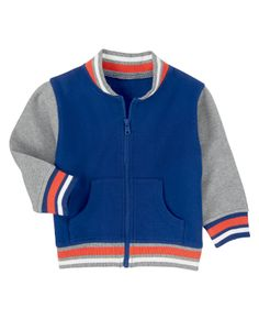 Zip him up in our soft and stylish varsity cardigan. Fleece lining and front pockets make a sporty look sure to save any chilly day.