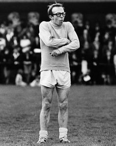 Nobby Stiles refereeing a charity footy match at Oswestry in 1968. Looking as…