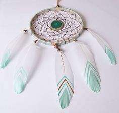 Light green dreamcatcher Green Stone dream by MagicalSweetDreams