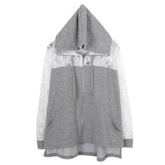 Ladylike Style Lace Splicing Hooded Long Sleeves Cotton Blend Hoodie For Women (GRAY,M) | Sammydress.com