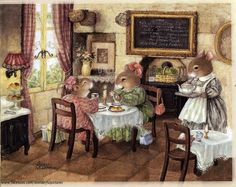 """Life is sweet on """"Holly Pond Hill"""" when it is illustrated by the gifted artist Susan Wheeler. Susan Wheeler, Beatrix Potter, Lapin Art, Motifs Animal, Bunny Art, Woodland Creatures, Children's Book Illustration, Whimsical Art, Cute Art"""