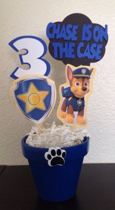 Hey, I found this really awesome Etsy listing at https://www.etsy.com/listing/185033481/paw-patrol-chase-inspired-centerpiece
