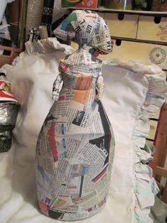 paper mache around a plastic bottle to make characters. Papier Mache Dolls Keka❤❤❤