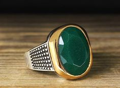 925 K Sterling Silver Man Ring Green Jade 11 US Size B20-64969 #istanbul #Cluster