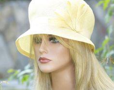 Vente de chapeau. Mariage chapeau, jaune chapeau Cloche femmes, thé chapeau Downton Abbey chapeau Miss Fisher chapeau, chapeau vintage 1920s 1930s, chapeau melon, chapeau formelle,