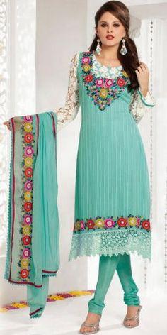 Sea Green Georgette Salwar Suit