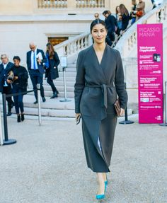 Caroline Issa in a Nordstrom Signature and Caroline Issa coat at Paris Fashion Week SS 2016 // Phil Oh for Vogue