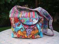 Guatemalan huipil big hobo bag full color hand embroidered fauna designs