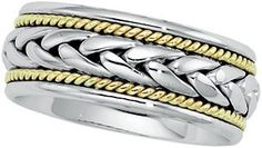 14K Gold Two Tone Men's Wedding Band.    http://www.thediamondstore.com/products/men's-wedding-rings/14k-gold-two-tone-mens-wedding-band-%7C-50047/7-591