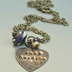 Just Breathe Vintaj Hand Stamped Pendant with Lampwork and Czech Glass Bead £13.50