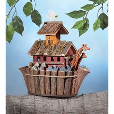 Multi-Color Square Noah Ark Decorative Wood Birdhouse #Unbranded