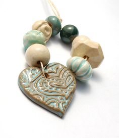 Calm Blue / Earthy Ceramic Bead Bundle and Paisley Heart by gaea, Like the ocean...