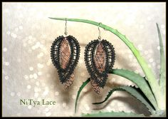 This unique and modern earrings are handmade with bobbin lace in blue cotton and silver metallic thread. Lace is hardened with special spray. Lace Earrings, Lace Jewelry, Crochet Earrings, Unique Jewelry, Needle Lace, Bobbin Lace, Lacemaking, Lace Heart, Metallic Thread