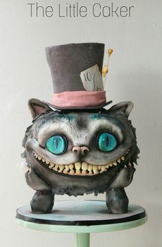 Tim Burton's Cheshire Cat cake by The Little Caker LLC #cheshirecat #aliceinwonderland #edibleart #timburton