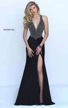 Open Back Black Plunging V Neckline 2016 Scalloped Beaded Long Slit Evening Dresses