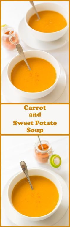 healthy meals food recipes diiner cooking This is a deliciously easy carrot and sweet potato soup which you can add to your list of quick healthy meals. Its low calorie, really tasty, filling, and has just the right amount of heat from the chilli. Soup Recipes, Vegetarian Recipes, Cooking Recipes, Healthy Recipes, Chicken Recipes, Chicken Soups, Vegetarian Dish, Healthy Soups, Healthy Sweets