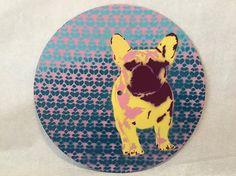 French Bulldog Art Wall Hanging 10 Upcycled Vinyl
