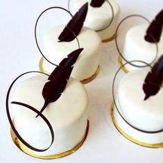 a cake engulfed in white fondant & decorated with a chocolate feather. Gourmet Desserts, Fancy Desserts, Plated Desserts, Dessert Recipes, Dessert Food, Fondant Cakes, Cupcake Cakes, Chocolate Garnishes, Decoration Patisserie