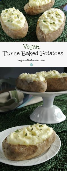 Twice Baked Potatoes are a great standby for company. Easy to pre-prepare and th… Twice Baked Potatoes are a great standby for company. Easy to pre-prepare and they are a special treat for your family too. Just slide them in… Continue Reading → Vegan Recipes Easy, Whole Food Recipes, Vegetarian Recipes, Pizza Recipes, Salad Recipes, Chicken Recipes, Baked Potato Recipes, Vegan Baked Potato, Skillet Recipes