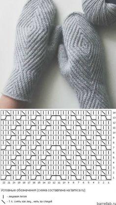 Варежки с геометрическим узором спицами. Схема вязания варежек спицами   Вязание для всей семьи